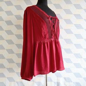 3/$60 like new cherry red boho blouse
